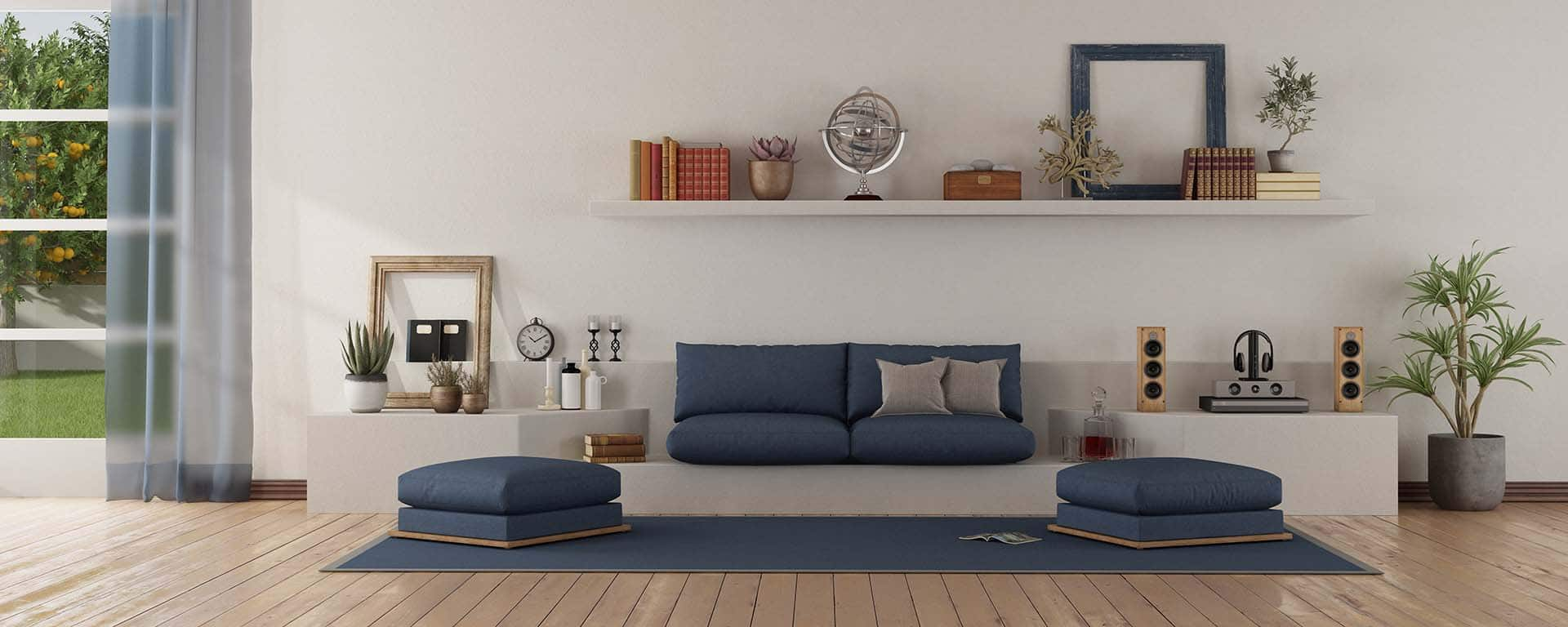 Modern white and blue living room with sofa with sofa on a white masonry structure - 3d rendering