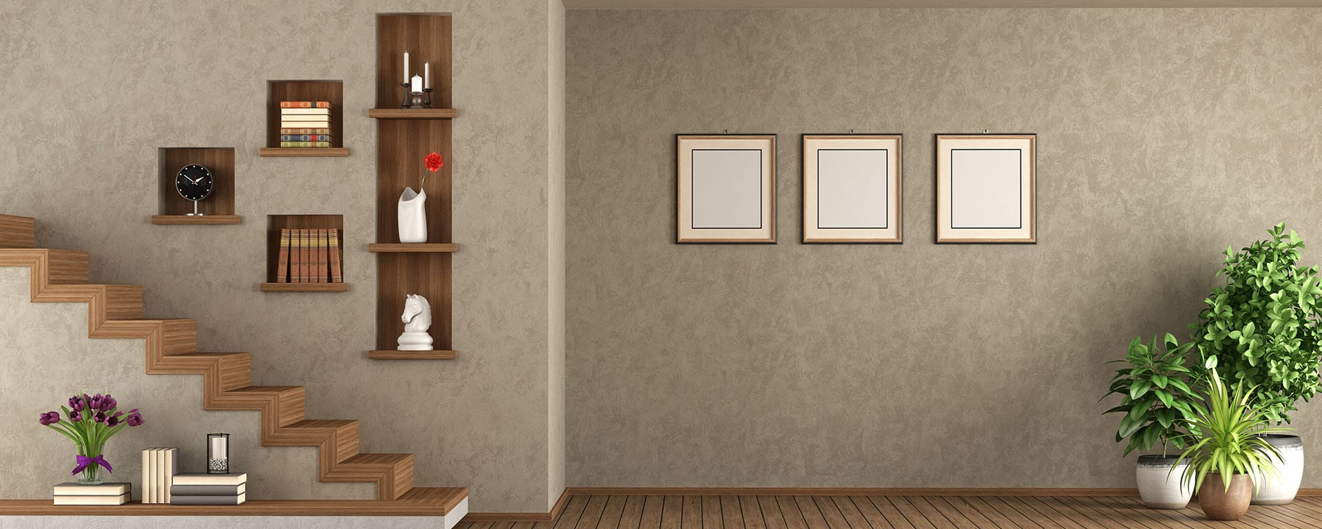 Empty living room with staircase and wooden niche on wall - 3d rendering