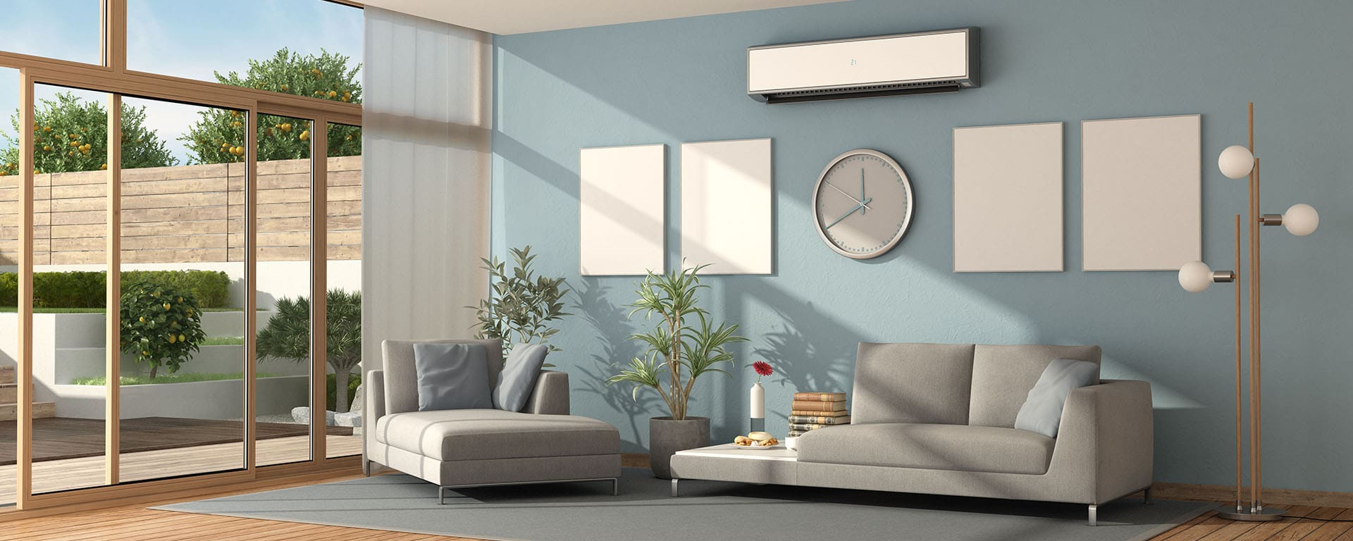Blue living room of a modern villa with sofa ,chaise lounge and air conditioner - 3d rendering